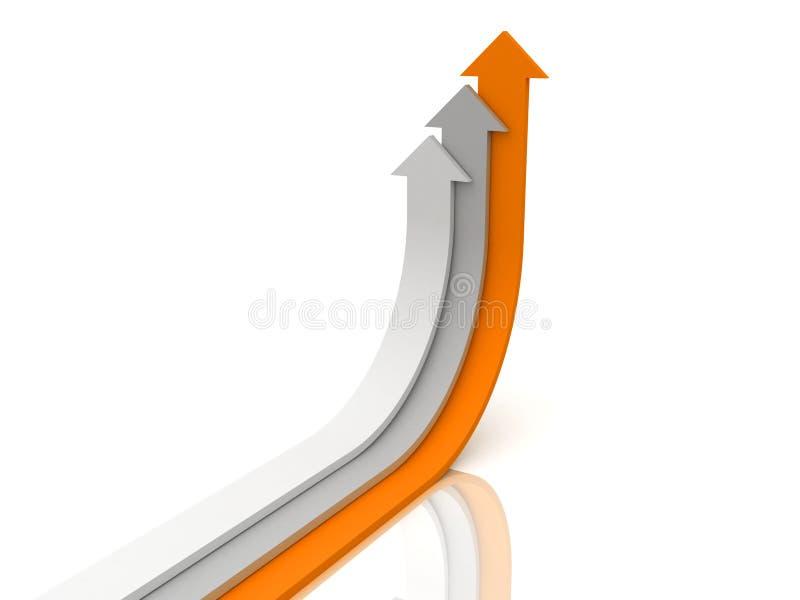 箭头灰色生长橙色设置白色 向量例证