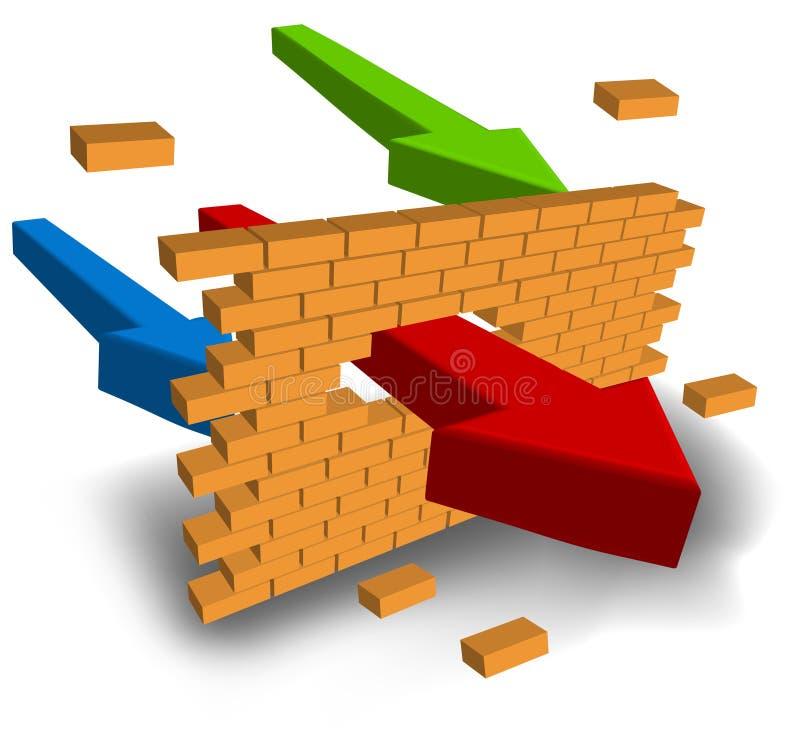 箭头猛击的墙壁 向量例证