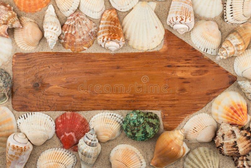 箭头由在沙子的一个老木板做了在贝壳中 免版税库存图片