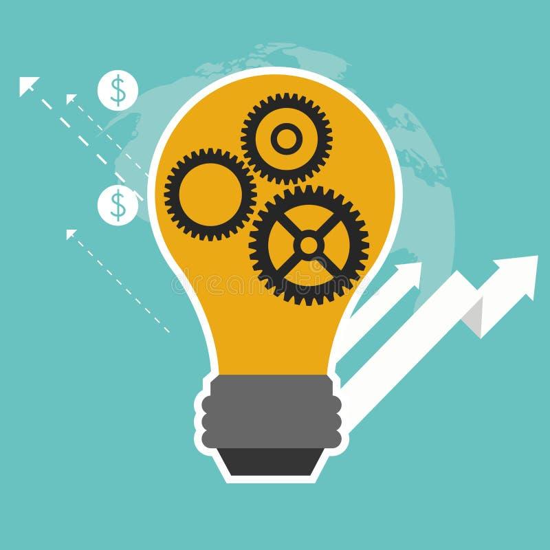 箭头电灯泡齿轮成长企业象 背景装饰图象风格化漩涡向量挥动 库存例证