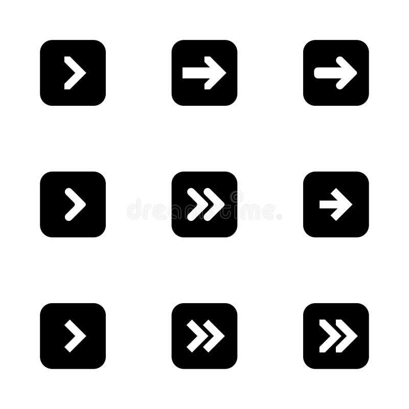 箭头的黑下权利设置了数字标志尖象商标标志按钮收藏 EPS 10现代平的简单的游标传染媒介 皇族释放例证