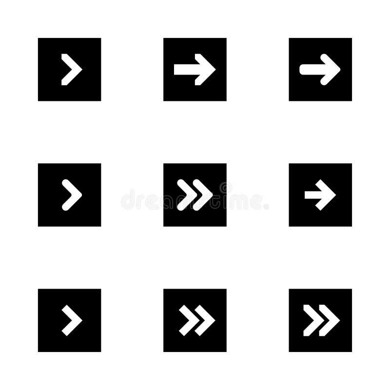 箭头的黑下权利设置了数字标志尖象商标标志按钮收藏 EPS 10现代平的简单的游标传染媒介 向量例证