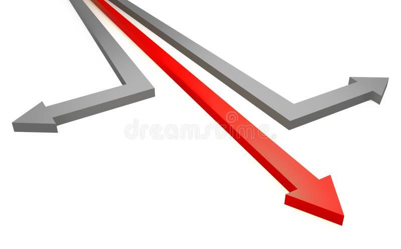 箭头竞争概念灰色红色 皇族释放例证