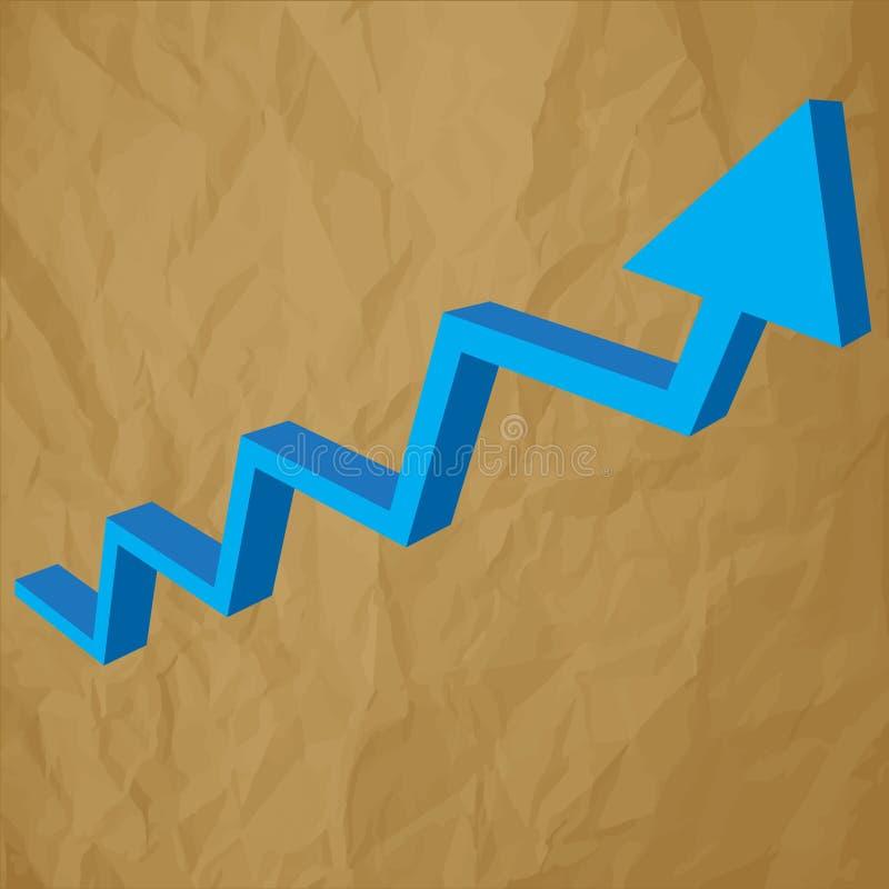 箭头绘制在被弄皱的纸棕色背景的分析3d蓝色图表 向量例证