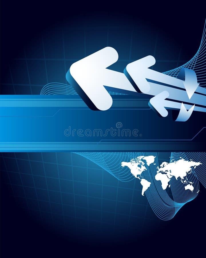 箭头背景蓝色世界 皇族释放例证
