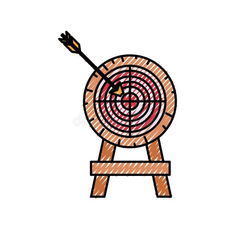 箭头色的蜡笔剪影在目标的 皇族释放例证