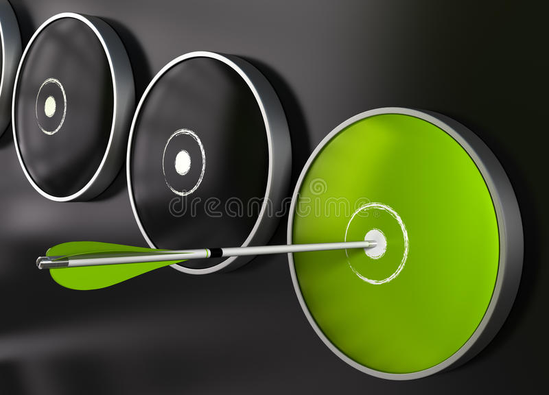 箭头董事会箭绿色目标 库存例证