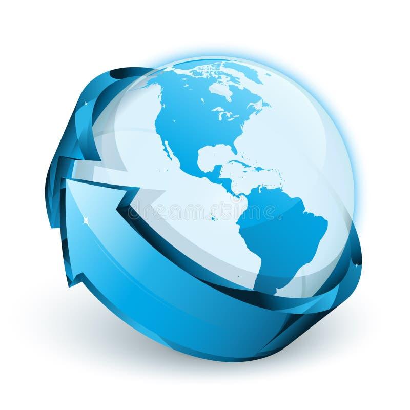 箭头蓝色地球 向量例证