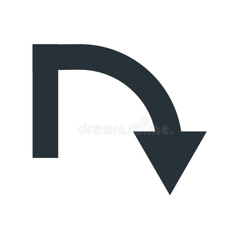 箭头象在白色backgro和标志隔绝的下来传染媒介标志 皇族释放例证