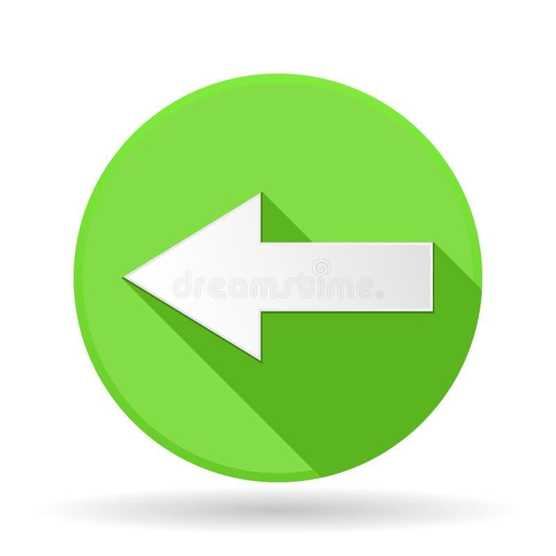 箭头象 与阴影的绿色圆的标志 箭头离开 库存例证