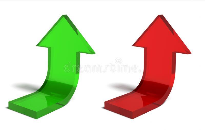 箭头财务绿色红色成功 库存例证