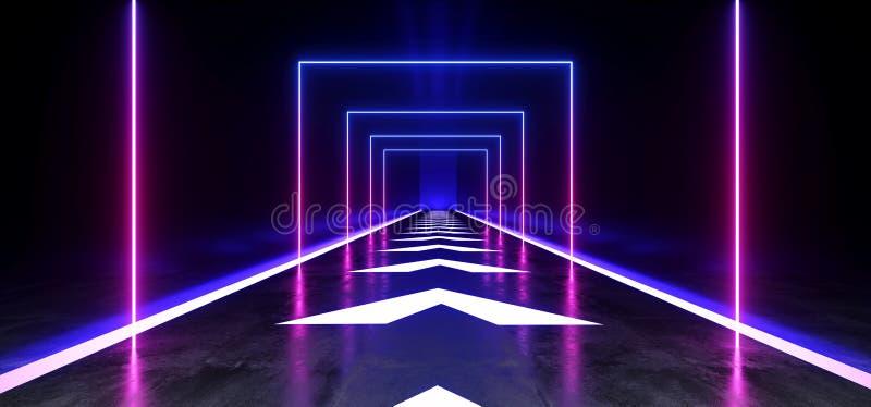 箭头跟踪具体难看的东西砖走廊隧道黑暗的霍尔反射性霓虹发光的科学幻想小说未来派现代道路紫色蓝色 向量例证