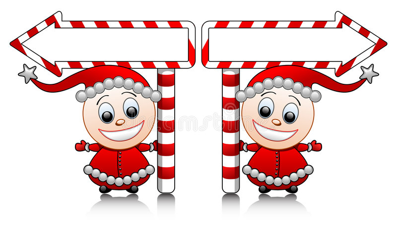 箭头逗人喜爱的辅助工圣诞老人向量 向量例证