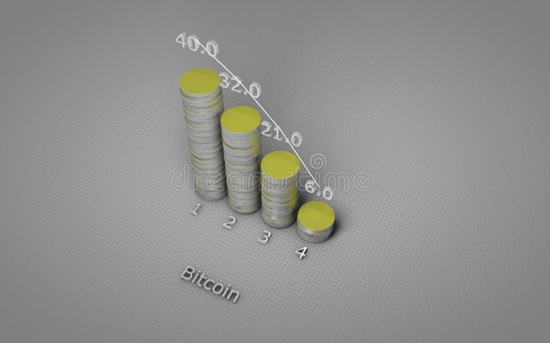 箭头铸造概念绘制财务金黄成功 bitcoins硬币图  皇族释放例证