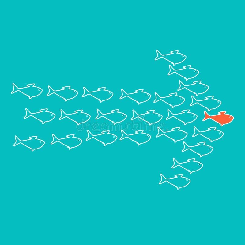 箭头鱼学校形状游泳 皇族释放例证