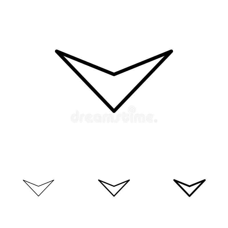 箭头,下来,其次大胆和稀薄的黑线象集合 皇族释放例证