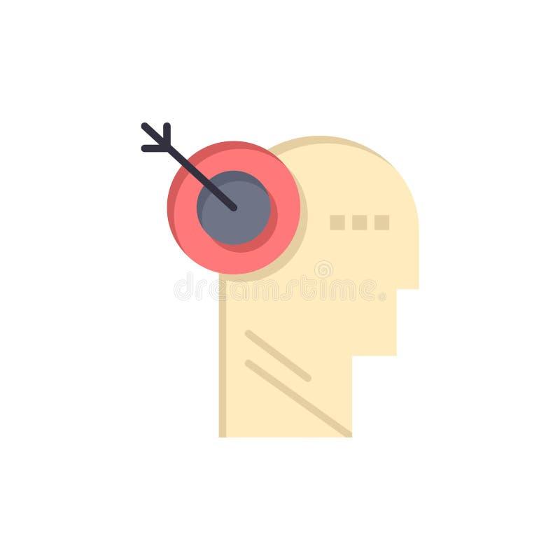箭头,焦点,精确度,目标平的颜色象 传染媒介象横幅模板 皇族释放例证