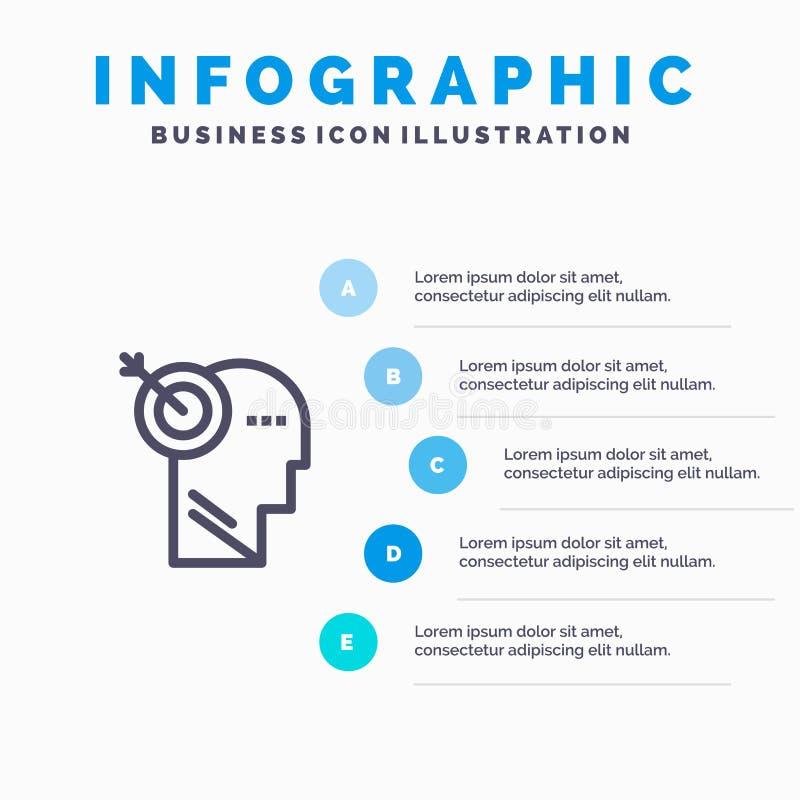 箭头,焦点,精确度,靶子设置线象有5步介绍infographics背景 向量例证