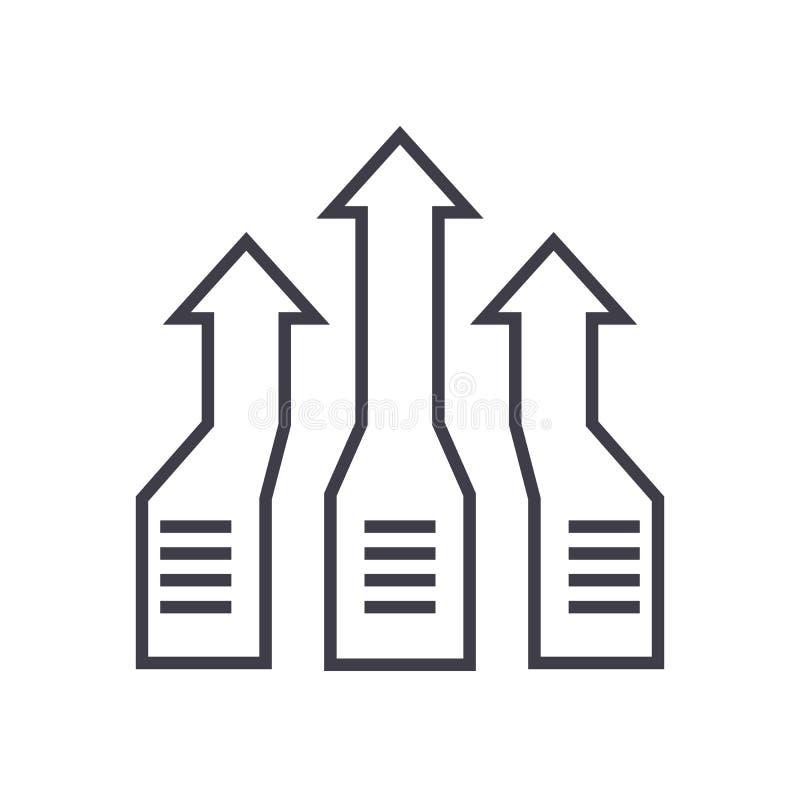 箭头,进展传染媒介线象,标志,在背景,编辑可能的冲程的例证 向量例证