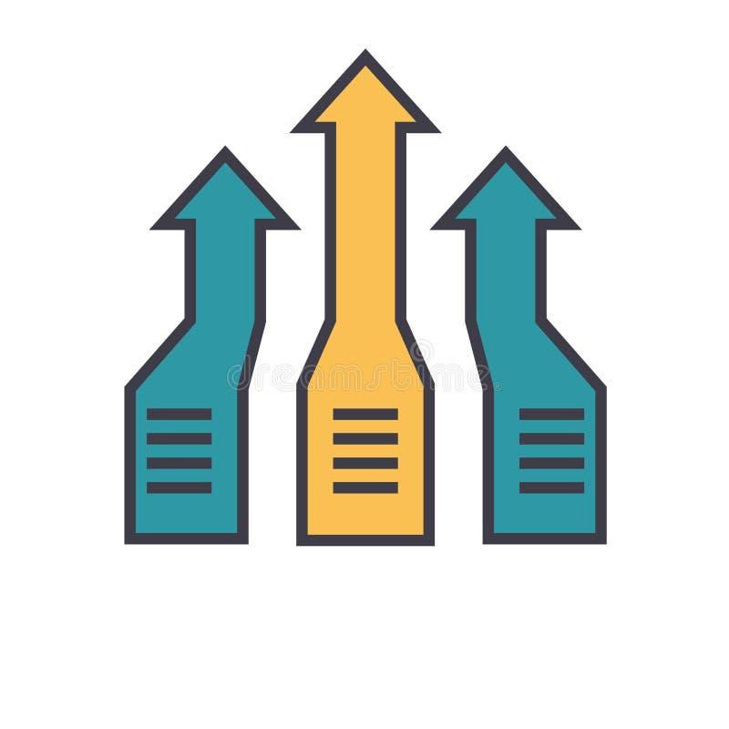 箭头,进步平的线例证,概念传染媒介被隔绝的象 向量例证