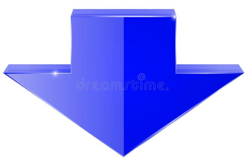 箭头 发光的蓝色象 皇族释放例证