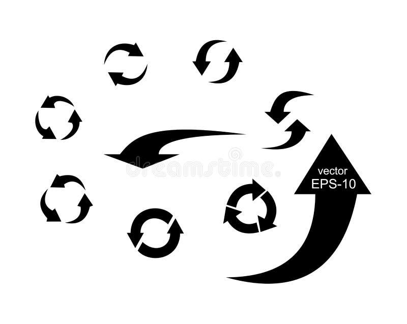 箭头 指针 方向 被设置的图标 也corel凹道例证向量 向量例证