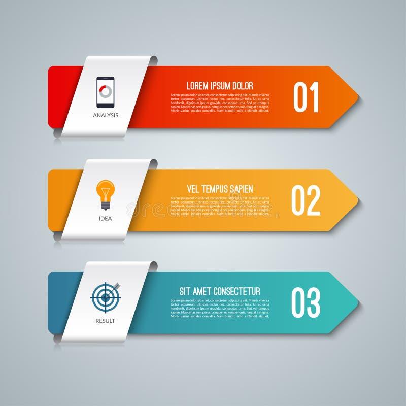 箭头Infographic元素 与3个选择的企业概念 也corel凹道例证向量 库存例证