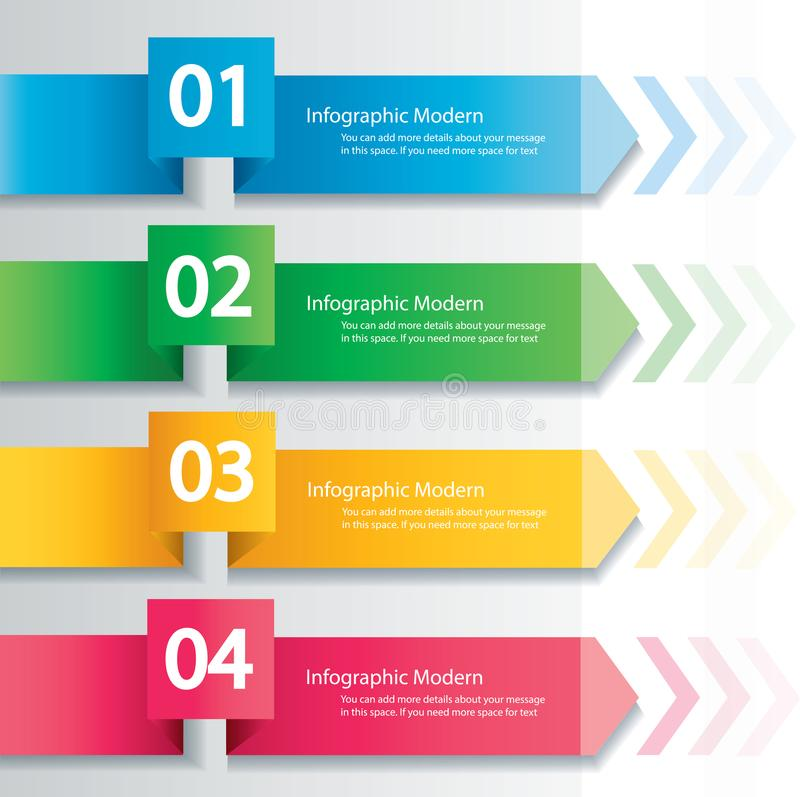 箭头infographic概念 与4个选择的传染媒介模板 向量例证