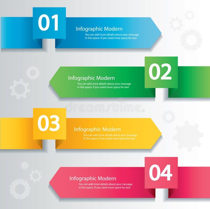 箭头infographic概念 与4个选择的传染媒介模板 皇族释放例证