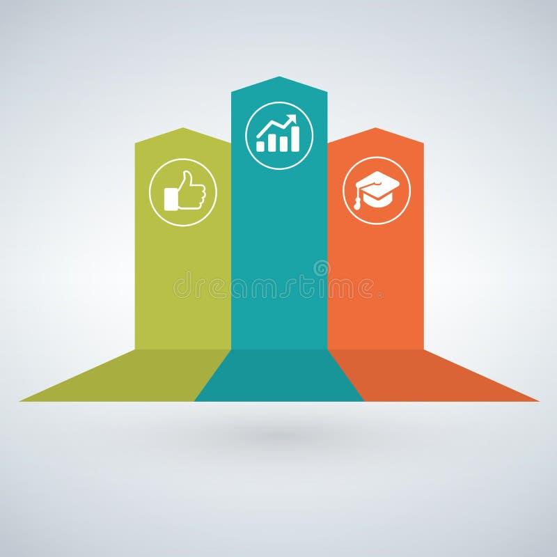 箭头infographic概念 导航与3个选择,零件,阶段,按钮的模板 能为网,图,图表, presentati使用 皇族释放例证