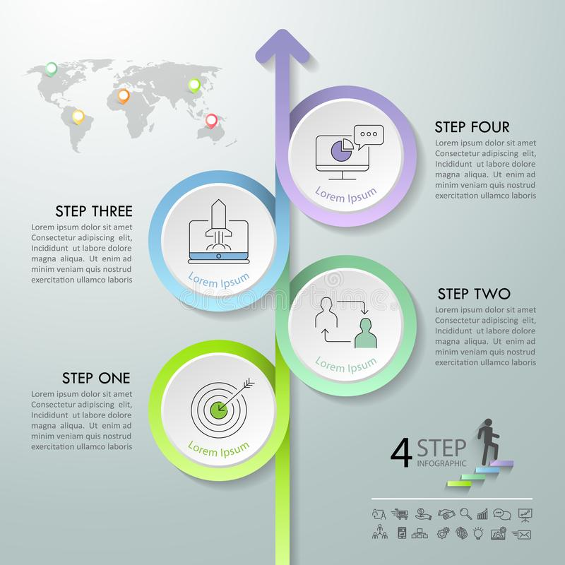 箭头infographic模板4选择 库存例证