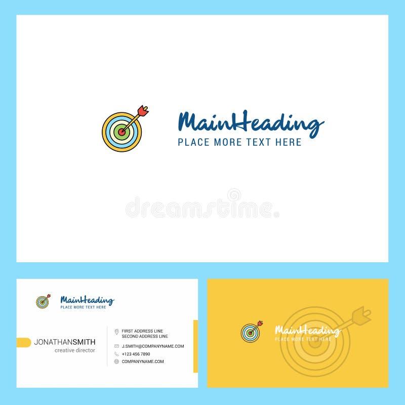箭比赛与口号的商标设计&前面和后面Busienss卡片模板 传染媒介创造性的设计 库存例证