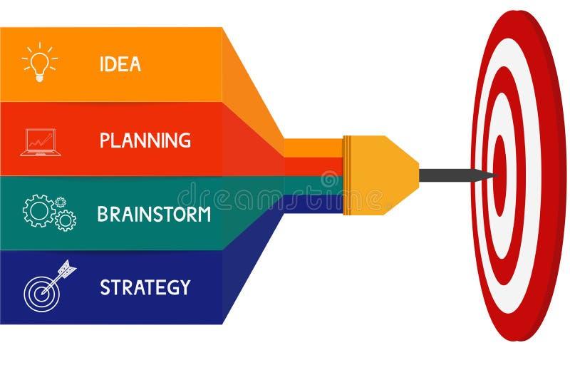 箭目标成功企业概念infographics 能为工作流布局,图网络设计, infographics使用 皇族释放例证