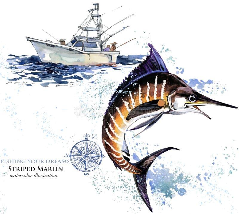箭鱼 水彩细索例证 向量例证