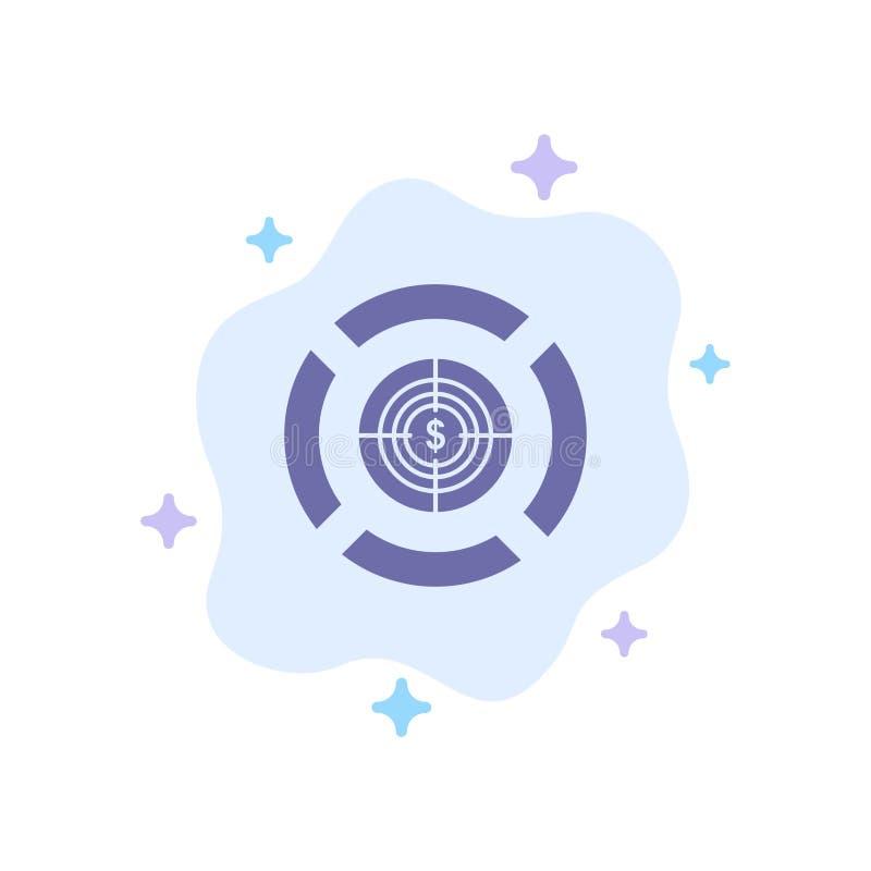 箭,焦点,目标,在抽象云彩背景的美元蓝色象 库存例证