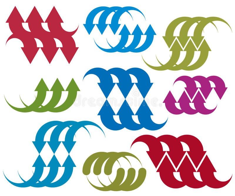 箭头传染媒介抽象符号,唯一彩图设计templ 皇族释放例证