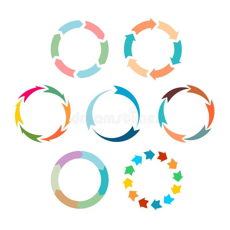 箭头刷新被设置的标志 平的颜色 库存例证