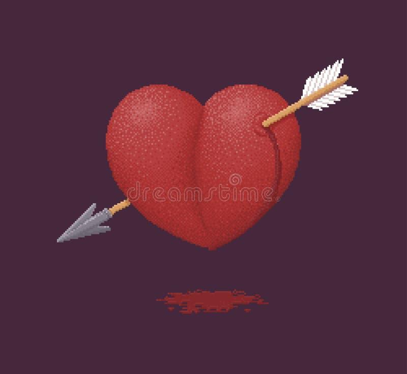 箭头刺穿的心脏-映象点艺术例证 向量例证