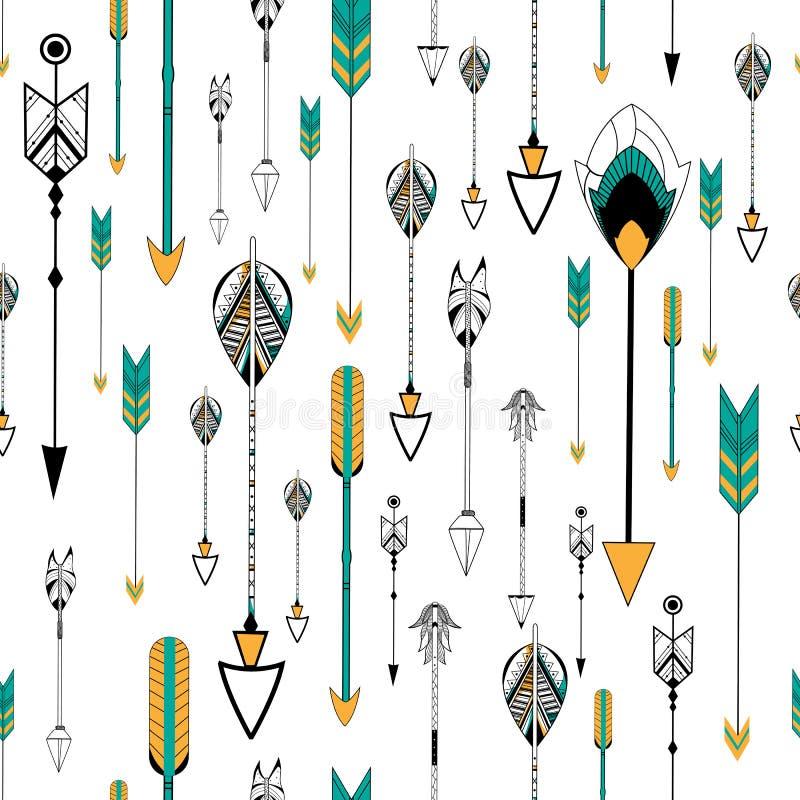 箭头和羽毛部族boho的称呼无缝的样式 皇族释放例证