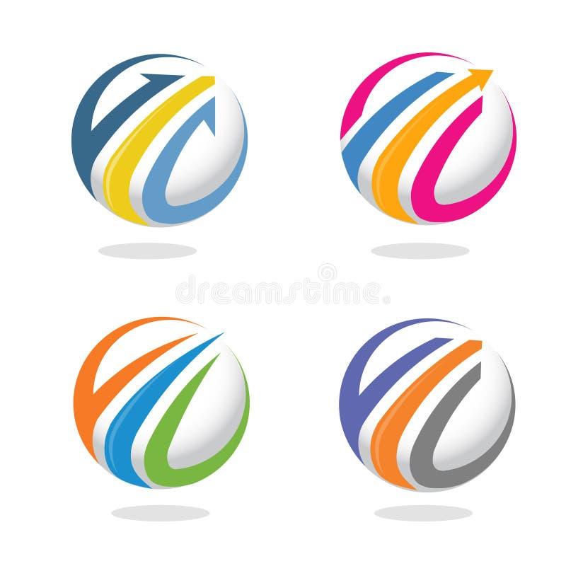 箭头和财务营销商标概念 向量例证