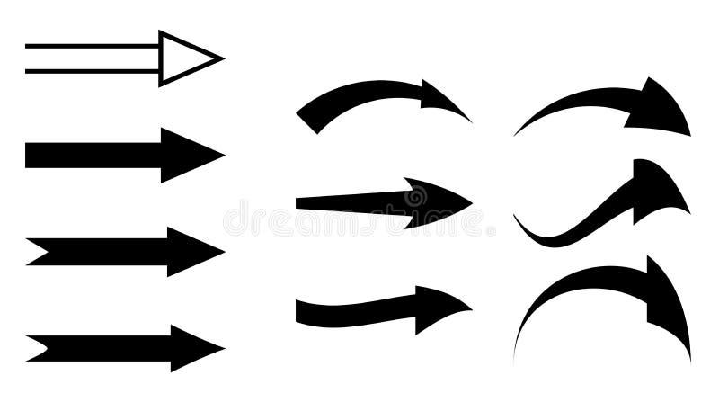 黑箭头-套元素 库存例证