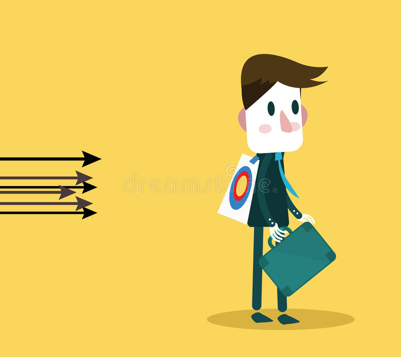 箭头攻击对商人 目标和风险概念 向量例证