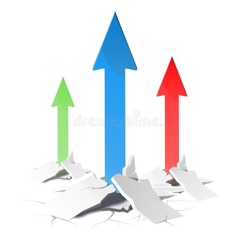 箭头-成长概念 向量背景 库存例证