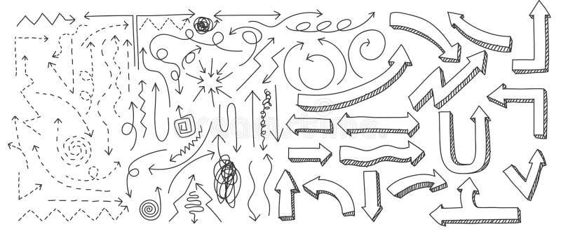 箭头手拉的元素线艺术传染媒介集合艺术例证