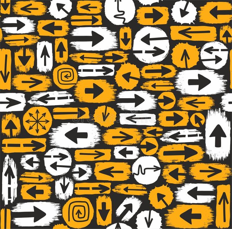 箭头无缝的背景、黑色和黄色 库存例证