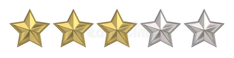 箭头概念评估高图象鼠标解决方法投票 对三个金黄星估计 3d回报 向量例证