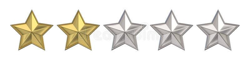 箭头概念评估高图象鼠标解决方法投票 对两个金黄星估计 3d回报 皇族释放例证