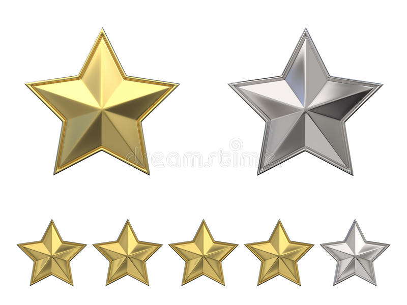 箭头概念评估高图象鼠标解决方法投票 对四个金黄星估计 3d 向量例证