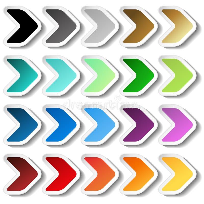 箭头贴纸 黑,灰色,银色,黑暗,金黄,深蓝,绿松石、蓝色、绿色、紫色、红色、桔子和黄色标签与白色o 向量例证