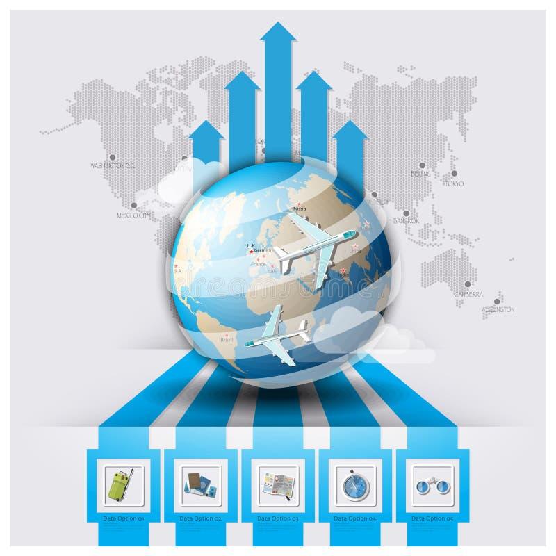 箭头线旅行和旅途世界地图Infographic 库存例证